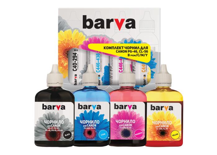 Комплект чорнил BARVA для Canon E404, E414, E464, E484, E514, E3140 (PG-46, CL-56) CPG46-090-MP, 4x90г
