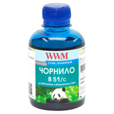 Чорнило WWM для Brother DCP-T300, DCP-T500W, DCP-T700W (B51/C) 200г Cyan
