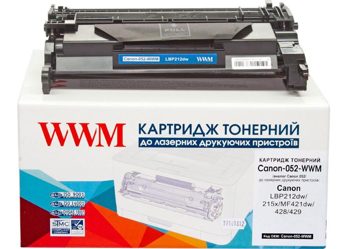 Картридж WWM аналог Canon 052 (LBP212, LBP214, LBP215, MF421, MF426, MF428, MF429) 3.1k