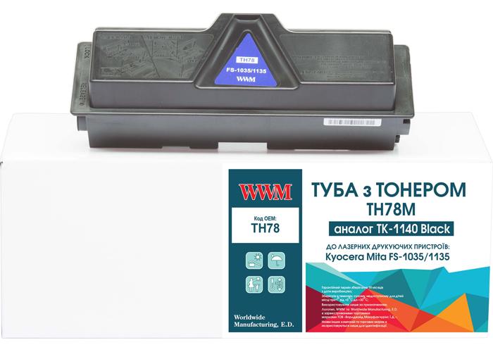 Туба з тонером WWM аналог картриджа Kyocera TK-1140 для FS-1035, FS-1135, M2035, M2535 (TH78)