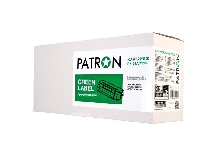 Картридж Patron аналог HP CB436A, Canon 713 (PN-36A, 713GL) Green Label