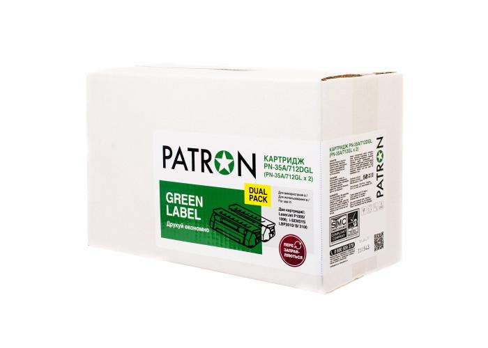 Картридж Patron аналог HP CB435A, Canon 712 (PN-35A, 712DGL) DUAL PACK Green Label