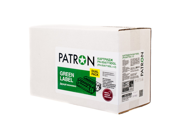 Картридж Patron аналог HP CE505A, Canon 719 (PN-05A, 719DGL) DUAL PACK Green Label
