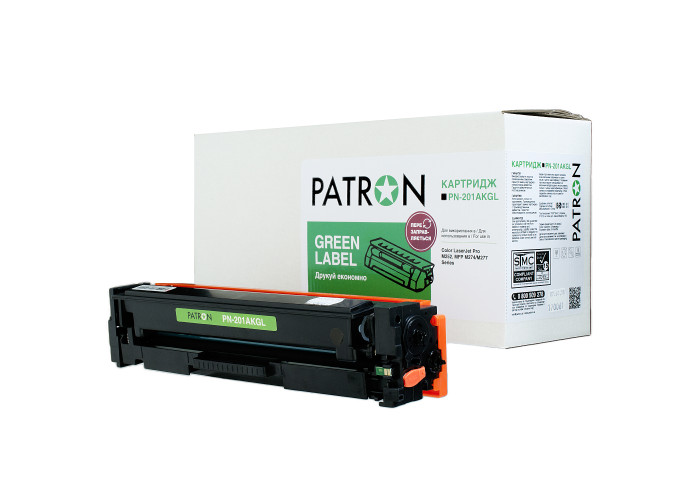 Картридж Patron Green Label аналог HP CF400A (PN-201AKGL) Black для Color M252, M277, M274