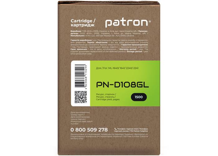 Картридж Patron аналог Samsung MLT-D108S для ML-1640, ML-1641, ML-2240, ML-2241 (PN-D108GL) Green Label