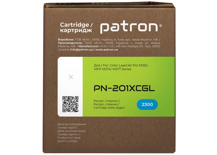 Картридж Patron Green Label аналог HP CF401X (PN-201XCGL) для Color M252, M277, M274 Cyan