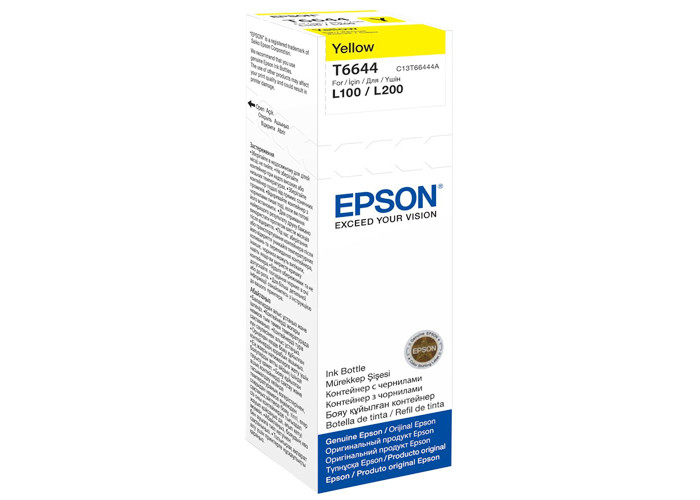 Чорнила Epson L100, L110, L200, L300, L365, L455, L486, L550, L565, L1300, L3050 (C13T66444A) Yellow