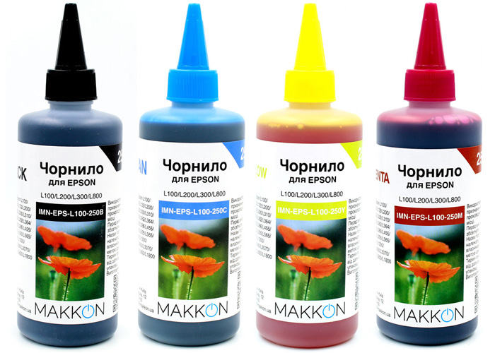 Комплект чорнил для Epson L100, L130, L200, L300, L365, L550, L1300 (4x250мл) Makkon