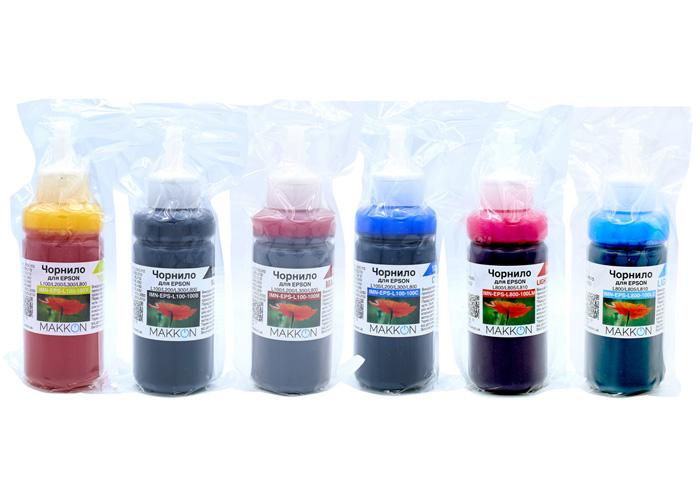 Комплект чорнил для Epson L800, L810, L850, L1800 (6x100мл) Makkon