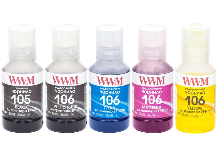Комплект чорнил WWM 105/106 для Epson L7160, L7180 (E105SET5)