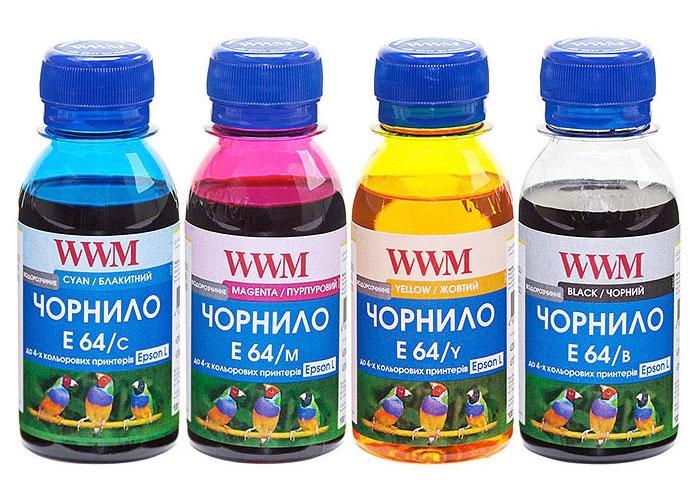 Комплект водорозчинних чорнил WWM E64 для Epson L100, L200, L300, L550 (4х100мл)