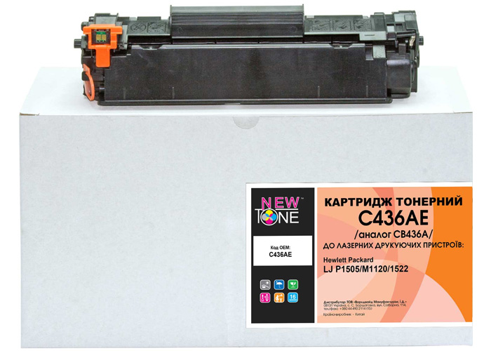 Картридж NewTone аналог HP CB436A для LaserJet P1505, M1120, M1522 (C436AE)