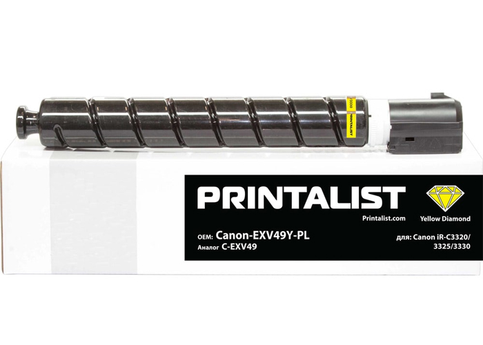 Туба з тонером PRINTALIST аналог Canon C-EXV49 для iR C3320, C3325, C3330, C3520, C3525 (8527B002) Yellow