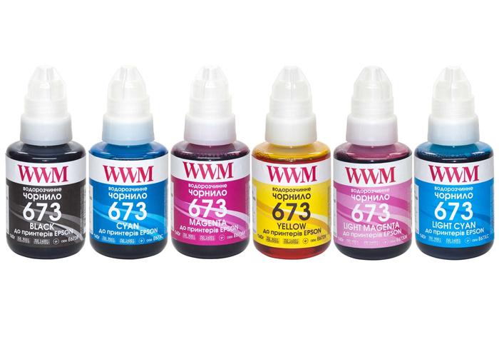 Комплект чорнил WWM 673 для Epson L800, L805, L810, L850, L1800 (E673SET6) 6x140г